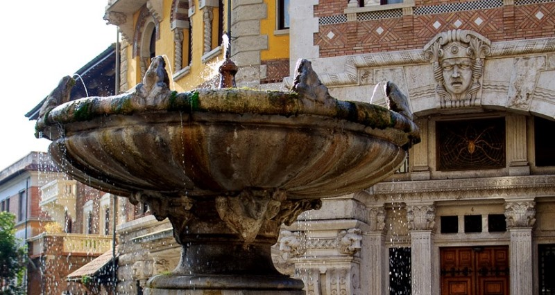 The Fountain of the Frogs, in the center of Piazza Mincio, in the Coppede neighborhood of Rome