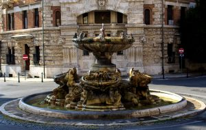 The Fountain of the Frogs, in the center of Piazza Mincio,